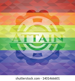 Attain on mosaic background with the colors of the LGBT flag