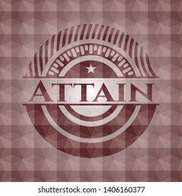 Attain red seamless emblem or badge with abstract geometric pattern background.