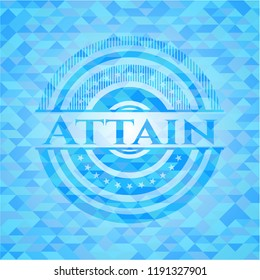 Attain sky blue emblem with mosaic ecological style background