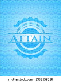 Attain sky blue water style emblem. Vector Illustration. Detailed.