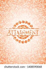 Attainment abstract emblem, orange mosaic background