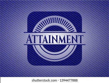 Attainment badge with jean texture. Vector Illustration. Detailed.