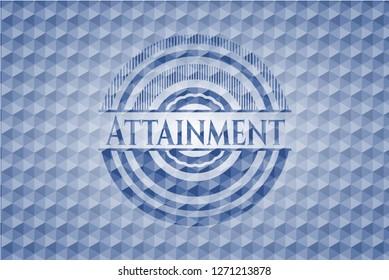 Attainment blue emblem with geometric background.