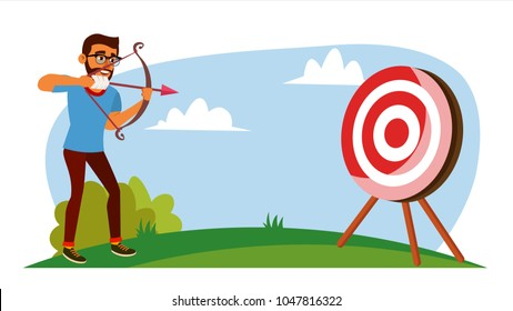 Attainment Concept Vector. Businessman Shooting From A Bow In A Target. Objective Attainment, Achievement. Flat Cartoon Illustration