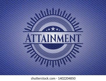 Attainment emblem with denim texture. Vector Illustration. Detailed.
