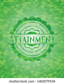 Attainment green emblem with mosaic ecological style background. Vector Illustration. Detailed.