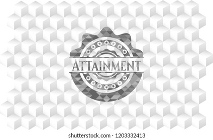 Attainment grey badge with geometric cube white background