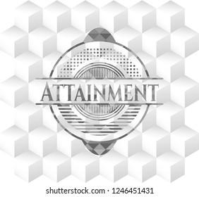 Attainment grey emblem. Retro with geometric cube white background