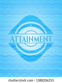 Attainment light blue water wave style emblem. Vector Illustration. Detailed.
