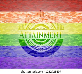 Attainment on mosaic background with the colors of the LGBT flag