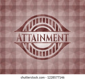 Attainment red badge with geometric background. Seamless.
