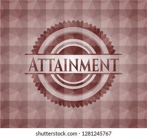 Attainment red geometric badge. Seamless.