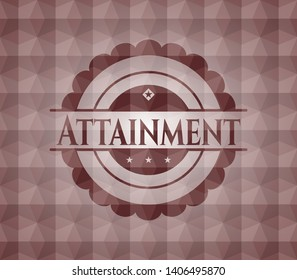 Attainment red seamless emblem or badge with geometric pattern background.