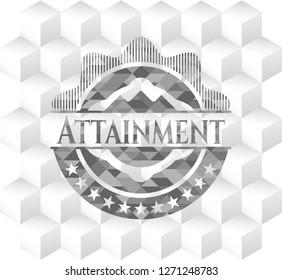 Attainment retro style grey emblem with geometric cube white background