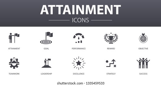 attainment simple concept icons set. Contains such icons as goal, leadership, objective, teamwork and more, can be used for web, logo, UI/UX