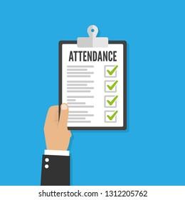 Attendance concept. Businessman holding checklist. Vector flat design