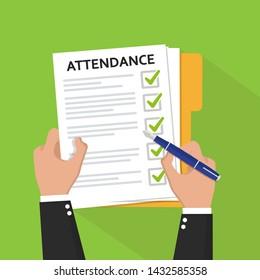 Attendance concept. Businessman holding document. Vector flat design