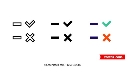 Attendance icon of 3 types: color, black and white, outline. Isolated vector sign symbol.