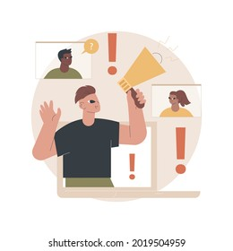 Attention abstract concept vector illustration. Requiring and attracting attention, active listening, take note, learning and concentration, behavior disorder, multitasking abstract metaphor.
