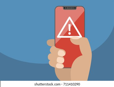 Attention or alert concept displayed on frameless touchscreen as vector illustration. Hand holding bezel free smartphone with icon of exclamation mark