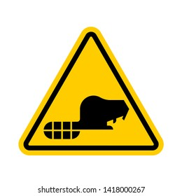 Attention Beaver. Warning yellow road sign. Caution River rodent