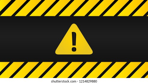 Attention black and yellow sign in striped frame on black background. Triangle with exclamation point. Design with attention icon for banner, poster or signboard. Danger warning.