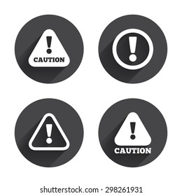 Attention caution icons. Hazard warning symbols. Exclamation sign. Circles buttons with long flat shadow. Vector