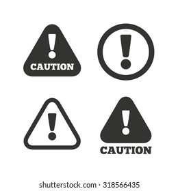 Attention caution icons. Hazard warning symbols. Exclamation sign. Flat icons on white. Vector