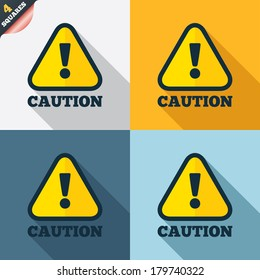 Attention caution sign icon. Exclamation mark. Hazard warning symbol. Four squares. Colored Flat design buttons. Vector
