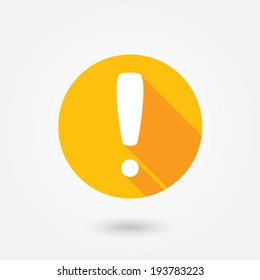 Attention caution sign icon. Exclamation mark. Hazard warning symbol. Flat design button. Warning stamp. Error. Alert icon. Danger. Prompt. Problem sign. Beware information. Important icon.