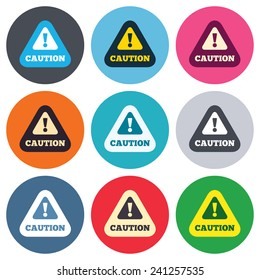Attention caution sign icon. Exclamation mark. Hazard warning symbol. Colored round buttons. Flat design circle icons set. Vector