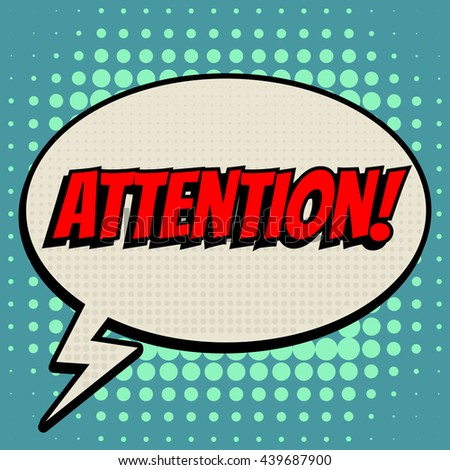 bdb9f0ca1a Attention Comic Book Bubble Text Retro Stock Vector (Royalty Free ...