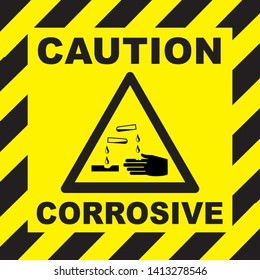 ATTENTION, DANGER, CAUTION BEWARE CORROSIVES, Warning sign. Acids Corrosive substances Symbol sign triangle yellow warning sign. GHS hazard- flammable, hazard warning sign flammable icon.