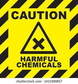 ATTENTION, DANGER, CAUTION Warning, Danger vector sign. Harmful Chemicals triangle yellow warning sign. Vector, illustration. symbols triangular warning hazard. Vector Illustration.