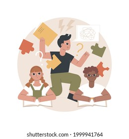 Attention deficit hyperactivity disorder abstract concept vector illustration. Developmental disorder, hyperactivity, attention deficit syndrome, impulsive behavior, ADHD abstract metaphor.