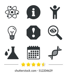 Attention and DNA icons. Chemistry flask sign. Atom symbol. Information, light bulb and calendar icons. Investigate magnifier. Vector