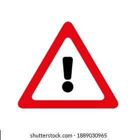 attention exclamation mark traffic sign. Vector icon.