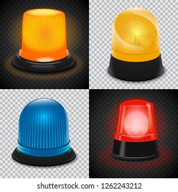 Attention flasher icon set. Realistic set of attention flasher vector icons for web design