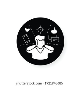 Attention focus flat icon. Man limiting attention and ignoring social media distractions. Filled flat sign for mindfulness practice and productive thinking
