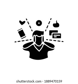Attention focus glyph icon. Man limiting attention and ignoring social media distractions. Filled flat sign for mindfulness practice and productive thinking. Isolated silhouette vector illustration