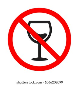 Attention forbidden alcohol icon. Forewarning forbidden drink sign. No drink alcohol vector icon. Do not drink alcohol vector icon.