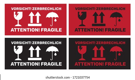 Attention! Fragile: Vorsicht! Zerbrechlich Sticker for shipping Bilingual German-English Vector EPS