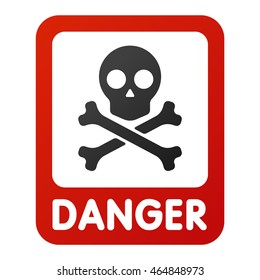 Attention icons danger skull face black and red button and attention warning sign. Skull skeleton symbol