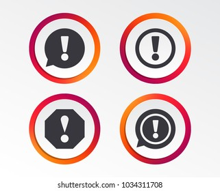 Attention icons. Exclamation speech bubble symbols. Caution signs. Infographic design buttons. Circle templates. Vector