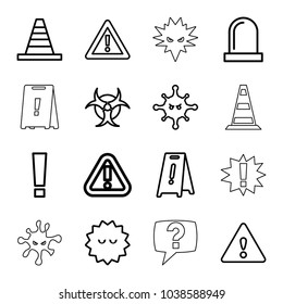 Attention icons. set of 16 editable outline attention icons such as wet floor, cone, bacteria, warning, exclamation point, siren, hazzard, cone barrier