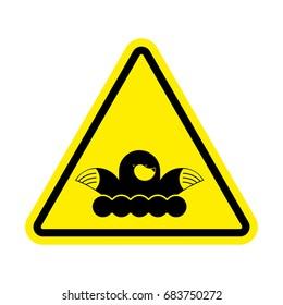 Attention mole. Warning shrew. Yellow prohibitory sign. Pest Farm