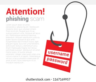 Attention phishing scam icon. Warning poster that your computer is trying hack and steal your personal data. Be vigilant and careful. Vector isolated illustration. Hand draw concept