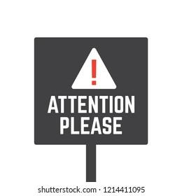 Attention please. Alert announcement, important advertisement banner