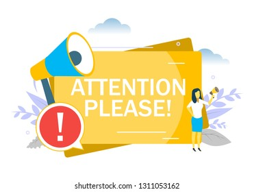 Attention please announcement, woman speaking through megaphone, exclamation point, vector flat illustration. Be careful, important information requiring attention concept for web banner, website page
