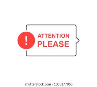 Attention please bubble. Flat cartoon style. Modern line vector illustration.